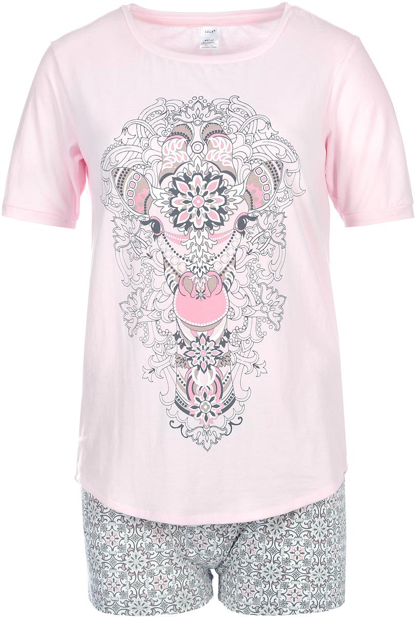 Пижама женская Sela, цвет: розовый кристалл. PYb-162/025-7331. Размер M (46)PYb-162/025-7331