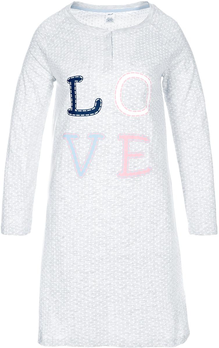 Блузка женская Sela, цвет: светло-серый меланж. NDb-161/014-7423. Размер M (46)NDb-161/014-7423