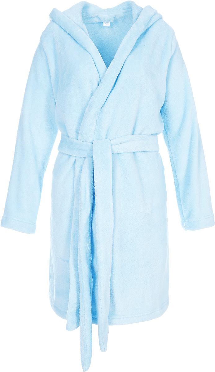 Халат женский Sela, цвет: снежно-голубой. BRb-163/011-7423. Размер XL (50)BRb-163/011-7423Женский халат от Sela выполнен из плюша. Модель с длинными рукавами и капюшоном дополнена широким поясом.