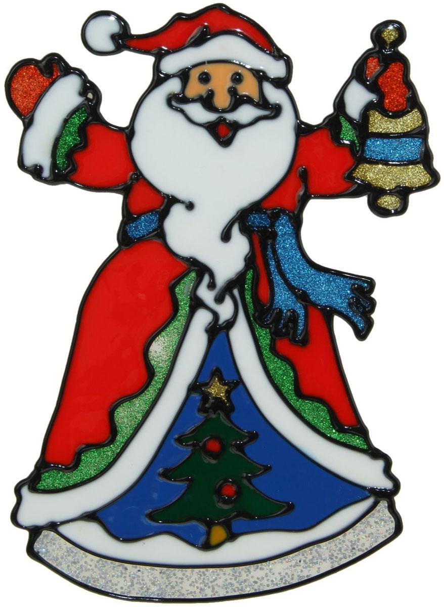 Украшение новогоднее оконное Дед Мороз в красной шубе и с колокольчиком, 13 х 18,5 см1399717Новогоднее оконное украшение Дед Мороз в красной шубе и с колокольчиком поможет украсить дом к предстоящим праздникам. Яркая наклейка крепится к гладкой поверхности стекла посредством статического эффекта. С помощью такого украшения вы сможете оживить интерьер по своему вкусу.Новогодние украшения всегда несут в себе волшебство и красоту праздника. Создайте в своем доме атмосферу тепла, веселья и радости, украшая его всей семьей.