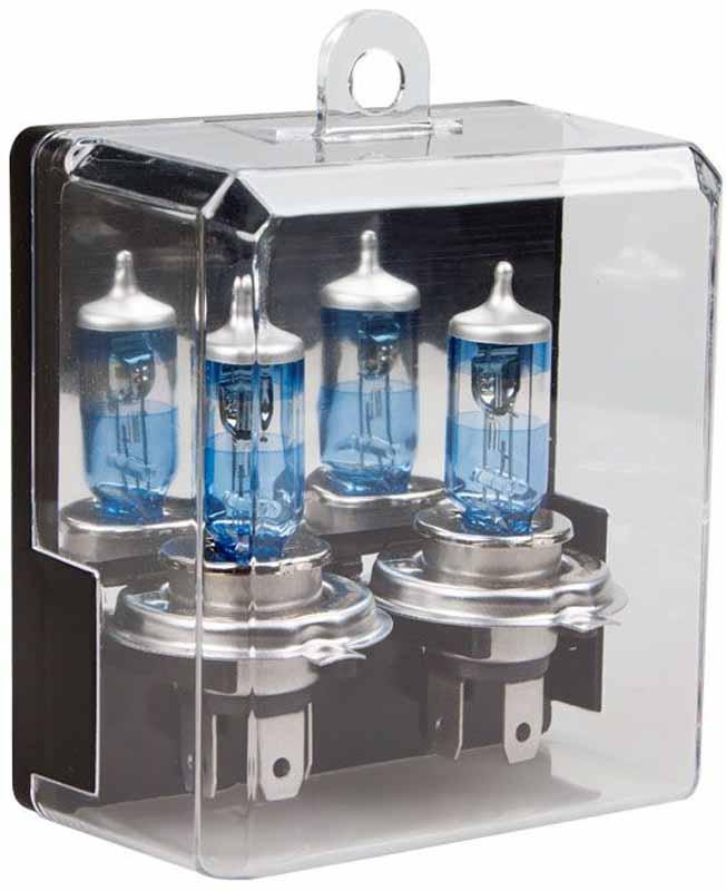 Лампа автомобильная галогенная Kraft Pro, H4, 12V, 55W (P43t), +80%, 2 штКТ 700204Уникальная технология производства, специальное инновационное покрытие и особенности конструкции и материалов, применяемых для производства ламп серии Kraft Pro + 80%, обеспечивают прибавление света до 80% и удлинение луча света до 35 метров.