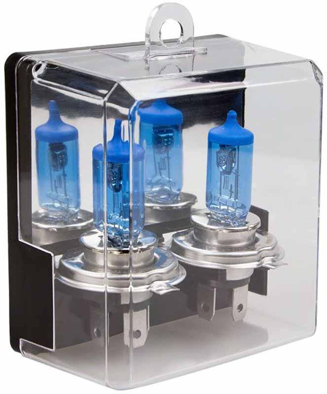 Лампа автомобильная галогенная Kraft Pro Xenon, H4, 12V, 55W (P43t), 2 штКТ 700208Лампы серии Kraft Pro Xenon созданы в первую очередь для водителей, желающих выделиться в потоке автомашин. Специальное интерференционное покрытие обеспечивает температуру свечения близкую к «холодному» белому цвету, снижая утомляемость глаз и создавая эффект света ксеноновой лампы.