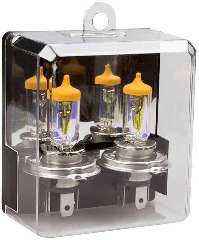 Лампа автомобильная галогенная Kraft Pro All Weather, H4, 12V, 55W (P43t), 2 штКТ 700217Отличительно особенность ламп данной серии является специальное двухслойное интерференционное покрытие, обеспечивающее золотисто-желтый цвет свечения. Лампы серии Kraft Pro All Weather обеспечивают наилучшую контрастность и комфорт вождения при плохих метеоусловиях (дождь, снег, туман), что значительно повышает безопасность дорожного движения.