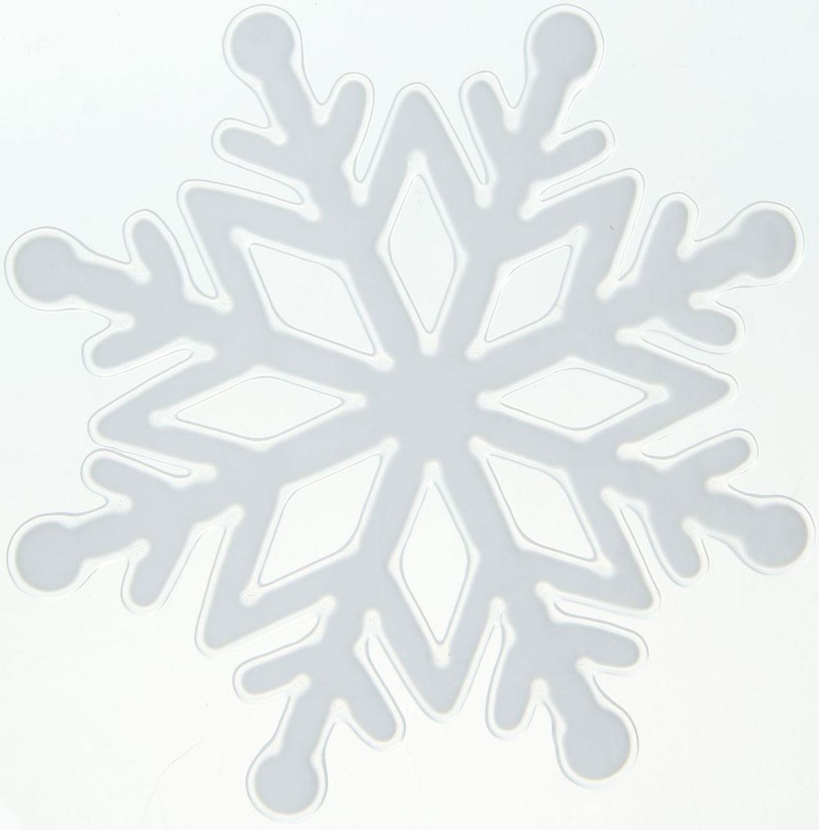 Наклейка на стекло Белая снежинка с ромбиками1399690Зимой не только мороз украшает стекла узорами. Сделайте интерьер еще торжественней: преобразите его с помощью специальных наклеек! Декор из силикона не содержит клей и не оставляет следов. Пластичная фигурка сама прилипает к гладкой поверхности, а в конце зимних праздников ее легко снять и отложить до следующего года. Прикрепите на стекло или зеркало одно украшение или создайте целую композицию. Новогодние наклейки приблизят праздничное настроение!