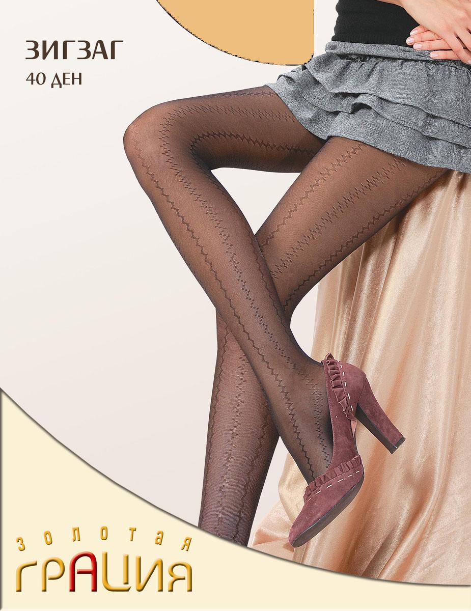 Колготки женские Золотая Грация Зигзаг 40, цвет: экрю. Размер 3 колготки золотая грация роза 60 цвет мокко размер 2