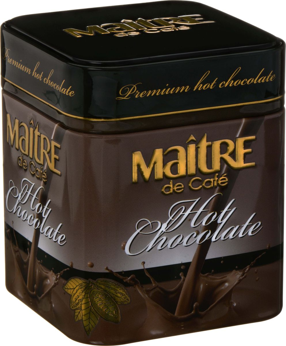 Maitre de cafe горячий шоколад, 120 гббб130Натуральный горячий шоколад в подарочной упаковке с насыщенным и пикантным вкусом - то, что нужно для душевного комфорта в зимнюю погоду. 100% натуральный продукт: какао-масса (включает в себя какао-масло) 47,5%, какао-порошок с пониженным содержанием жира 1,5%, сахар 51%, ваниль 0,5%