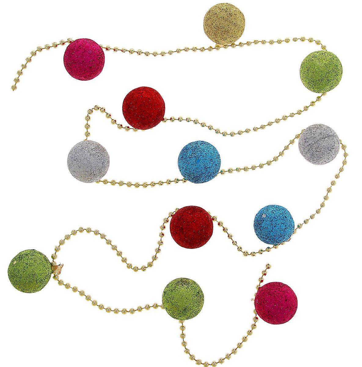 Бусы на елку NoName Разноцветные шарики, длина 1,2 м1116463Невозможно представить нашу жизнь без праздников! Мы всегда ждем их и предвкушаем, обдумываем, как проведем памятный день, тщательно выбираем подарки и аксессуары, ведь именно они создают и поддерживают торжественный настрой. Новогодние аксессуары — это отличный выбор, который привнесет атмосферу праздника в ваш дом!