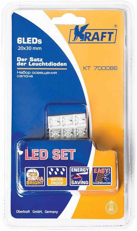 Набор автомобильных ламп Kraft Basic, 6LEDs, 20x30 mm набор автомобильных ламп kraft basic 12leds 25x40 mm