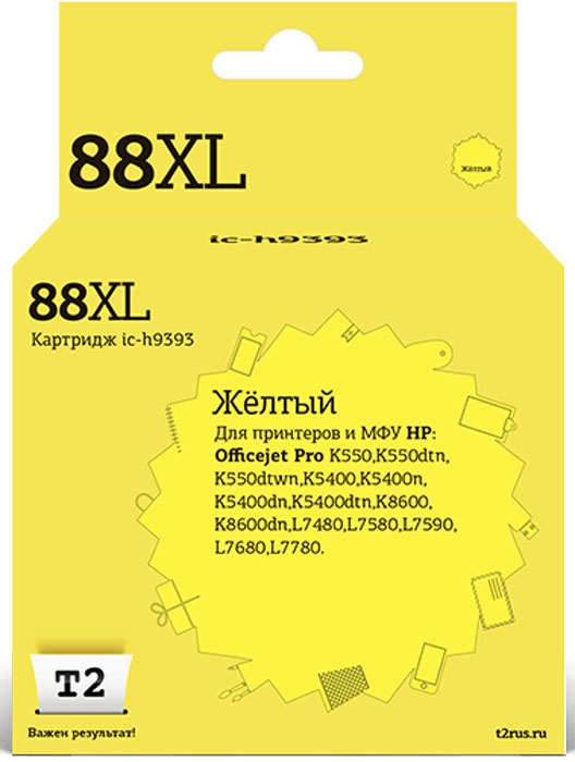T2 IC-H9393 картридж для HP OfficeJet Pro K550/K5400/K8600/L7480/L7580/L7680/L7780 (№88XL), Yellow