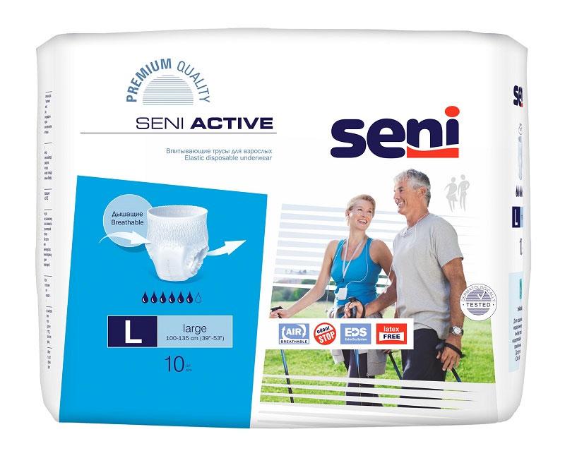 Трусы впитывающие для взрослых Seni Active, одноразовые, размер 3 (100-135 см), 10 шт