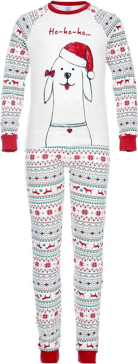 Пижама для девочки Sela, цвет: молочный. PYb-5662/029-7403. Размер 104/110PYb-5662/029-7403Детская пижама от Sela, состоящая из футболки с длинным рукавом и брюк, выполнена из натурального хлопкового трикотажа. Футболка с длинными рукавами-реглан и круглым вырезом горловины спереди оформлена принтом. Принтованные брюки с эластичной резинкой на талии. Манжеты рукавов и брючин дополнены широкими трикотажными резинками.