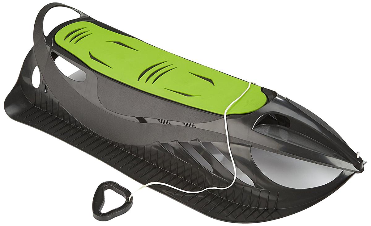 Санки детские пластиковые Gismo Riders Neon Grip, цвет: черный, зеленый1373644Представляем новые чешские санки Gismo Riders Neon Grip, которые воплотили в себе современные идеи в области аэродинамики и потрясающего, эффектного космического дизайна. Санки скорее похожи на космический шаттл, чем на спортивный, всеми любимый вид развлечений. Санки Neon Grip очень легкие и весят меньше 2 килограмм! Такие очень просто поднимать на горку, да и нести в руках при необходимости, ведь сзади санок есть удобная ручка-дуга. Санки также удобно хранить и вешать на стену. Neon Grip очень мобильны и отлично скользят по снегу с горки с вашим малышом на борту. Во-первых, у санок есть место куда поставить обе ноги при спуске сидя. Кстати, места под ноги с обеих сторон также имеют полоски-зазубрины, которые не дадут ножкам ребенка соскользнуть во время спуска. Во-вторых, есть мягкая накладка на пластиковое сиденье, которое позволит устроиться мягко и удобно. Данный продукт полностью производится в Чехии на фабрике современного уровня - Plastkon, которая уже много лет на рынке известна качеством своей продукции и экспортирует товары в Германию и другие страны Евросоюза с их высокими требованиями. Можете кататься сидя или лежа на животе, а также лежа на спине.