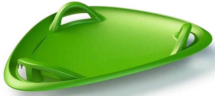 Санки-ледянка с ручками детские Gismo Riders Meteor, трехугольные, цвет: зеленый1373656Gismo Riders Meteor (Гизмо Райдерс Метеор) - это современные усиленные санки-ледянка (тарелка), катание на которых производится, когда вы садитесь внутрь вместе с ногами Санки производятся в Чехии, выполнены из морозоустойчивого пластика (выдерживает катание при температуре до - 30 градусов Цельсия), и имеют эффектную треугольную форму, созданную с учетом оптимальной аэродинамики, а также целых 3 ручки! Корпус имеет двойную толщину и глянцевую поверхность, а размер - 60 см в диаметре - позволит разместиться на ней даже подростку или взрослому, причем, с ногами Удовольствие от спуска на этой пластиковой летающей тарелке не с чем не сравнить! Треугольная форма необычна, красиво смотрится на горке, а также безопасна и сбалансирована, поскольку повернется при спуске одной из правильных сторон Для поворота наклонитесь влево или вправо - Быстрый, захватывающий спуск- Высокое качество изделия (Продукт сертифицирован для Европы) - Большой размер и необычная форма - Целых 3 ручки - Малый вес (всего 700 грамм) - удобно нести - Плоские - удобно хранить