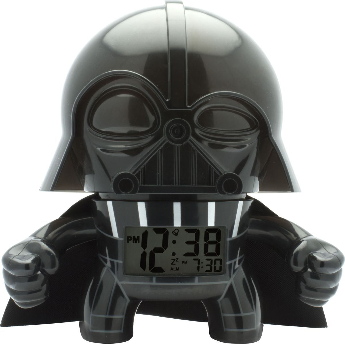 """BulbBotz (дословно """"лампа бот"""") - будильник в виде минифигуры любимого героя Звёздных Войн, по форме напоминающий лампу накаливания, оснащен цифровым дисплеем с подсветкой и функцией отсрочки звукового сигнала. Для того, чтобы включить/выключить будильник, нужно нажать на голову минифигуры, которая также подсвечивается! В комплект входят 2 батарейки (ААА). Рекомендуемый возраст: от 6 лет. Высота минифигуры: 19 см"""