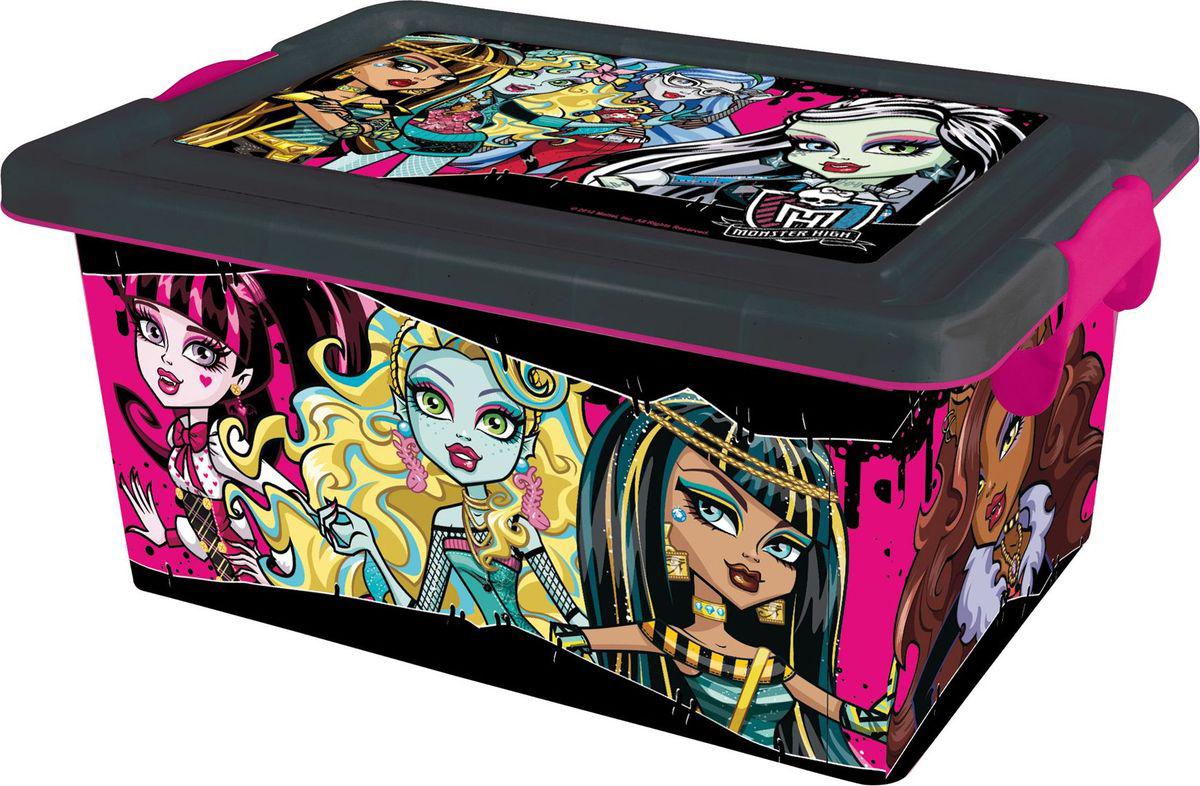 Monster High Ящик для хранения Monster High 7 л4644Вместительный и удобный ящик для игрушек, в стиле популярного сериала Школа Монстров. В контейнере можно компактно хранить не только любимых кукол Monster High, но и любые другие игрушки и вещи. Контейнер с крышкой и на колёсиках, даже достаточно тяжело нагруженный, его можно возить, переставлять с места на место.