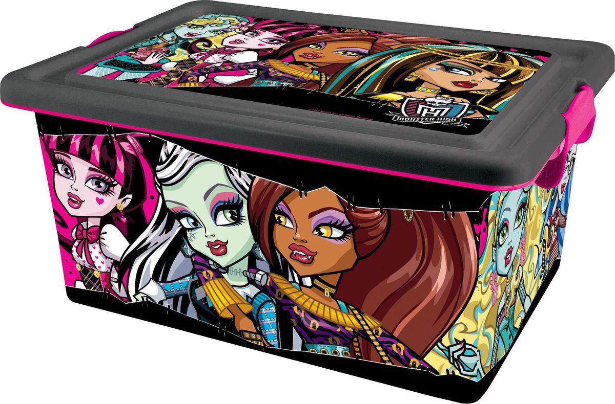 Monster High Ящик для хранения Monster High 13 л4645Вместительный и удобный ящик для игрушек, в стиле популярного сериала Школа Монстров. В контейнере можно компактно хранить не только любимых кукол Monster High, но и любые другие игрушки и вещи. Контейнер с крышкой и на колёсиках, даже достаточно тяжело нагруженный, его можно возить, переставлять с места на место.