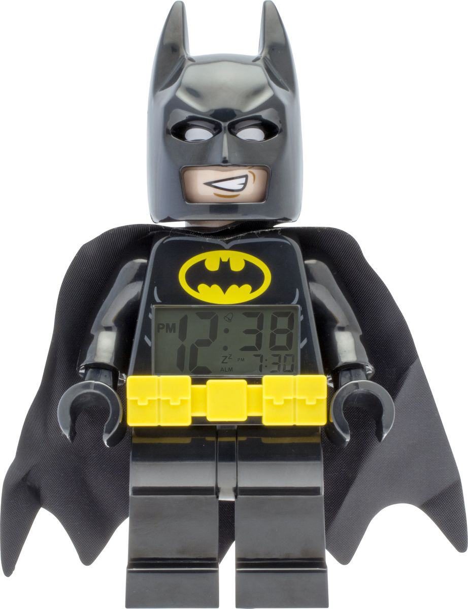 LEGO Batman Movie Будильник детский Batman9009327Будильник детский Batman поможет вашему ребенку вставать легко и с улыбкой на лице. Если ему с утра так тяжело расстаться с теплойпостелью, то такой веселый и необычный будильник сделает утро, по-настоящему, добрым. Дизайнерский будильник Лего сделан в видеминифигурки. Он оснащен удобным цифровым дисплеем с подсветкой и функцией отсрочки звукового сигнала. В комплект к будильнику входятдве батарейки (ААА) и инструкция по применению. Будильник не предназначен для детей до 6 лет.