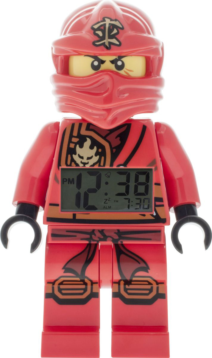 LEGO NINJAGO Будильник детский Jungle Ninja Kai 20159009600Будильник Лего серии Нинджаго - это не только функциональное устройство, но и оригинальный аксессуар, который великолепно украсит комнату ребенка. Будильник, выполнен в виде пластиковой фигурки ниндзя Кая. У фигурки двигаются ноги и руки, она может принимать разные положения - сидеть, стоять и делать шаги.. На животе у нее установлен крупный и четкий дисплей, на котором большими цифрами демонстрируются текущее время и время срабатывания будильника. Подсветка дисплея активируется при нажатии на голову фигурки. Настраивается будильник 4 кнопками, расположенными на спине фигурки. Для отключения сигнала имеется отдельная кнопка. Будильник снабжен функцией отсрочки сигнала. Для работы игрушки требуются 2 батарейки ААА типа (есть в комплекте).