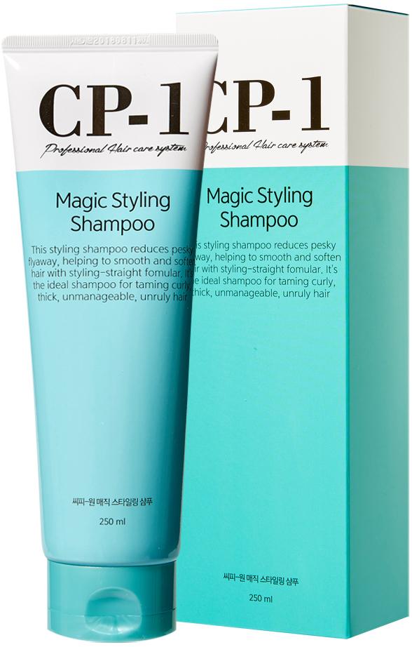 Esthetic House Шампунь для непослушных волос CP-1 Magic Styling Shampoo, 250 мл010490Шампунь для непослушных волос магическим образом превращает непослушные вьющиеся волосы в гладкие и блестящие, после его использования волосы легче уложить. Белки растительного происхождения в составе (пшеничный протеин, соевый белок, кукурузный белок, рисовый белок, картофельный протеин и экстенсин) выполняют ремонтную функцию, помогают обеспечить питание волос и кожи головы.