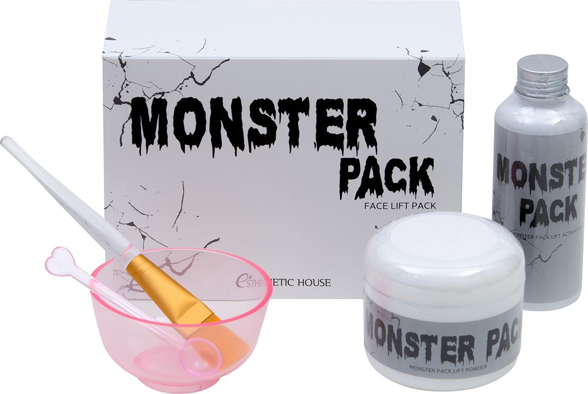 Esthetic House Набор для приготовления лифтинг-маски Monster Pack950221Маска MONSTER PACK направленна на моментальный лифтинг-эффект, сужает поры, очищает кожу, борется с возрастными изменениями, осветляет, выравнивает тон, преображает как внешне, так и изнутри. ПОРОШОК: альбумин в составе порошка предотвращает потерю влаги кожей, а также дает эффект мгновенного лифтинга. АКТИВАТОР: гиалуроновая кислота, пантенол, цветочные экстракты в составе направлены на увлажнение кожи, аденозин и ниацинамид - функциональные ингредиенты, которые вкупе предотвращают возрастные изменения, осветляющие кожу. Содержимое набора: порошок 50 г, активатор 150 мл, кисть, миска, мерная ложка.