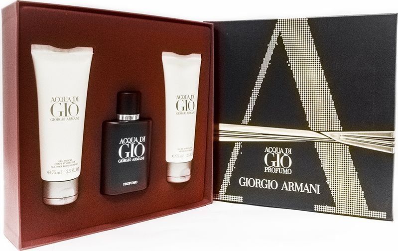 Giorgio Armani Парфюмерный набор мужской Acqua Di Gio Profumo, 3 предмета giorgio armani acqua di gio profumo парфюмерная вода мужская 40 мл