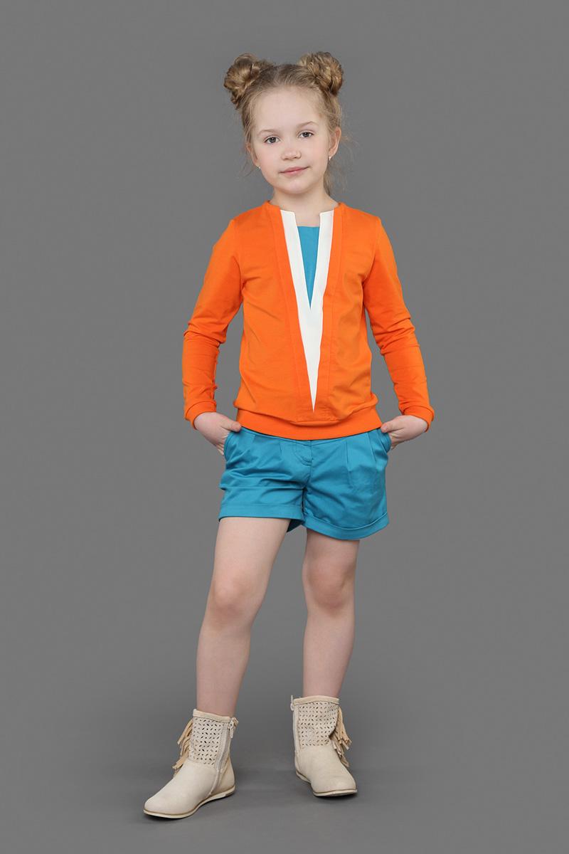 Джемпер для девочек Ёмаё, цвет: оранжевый. 27-634. Размер 12827-634Джемпер с длинным рукавом из эластичного хлопка с аппликацией из треугольников контрастных цветов спереди. V-образная горловина, на рукавах манжеты. Особый вид покраски придает этому изделию уникальный вид. Модель рассчитана на демисезонный период.