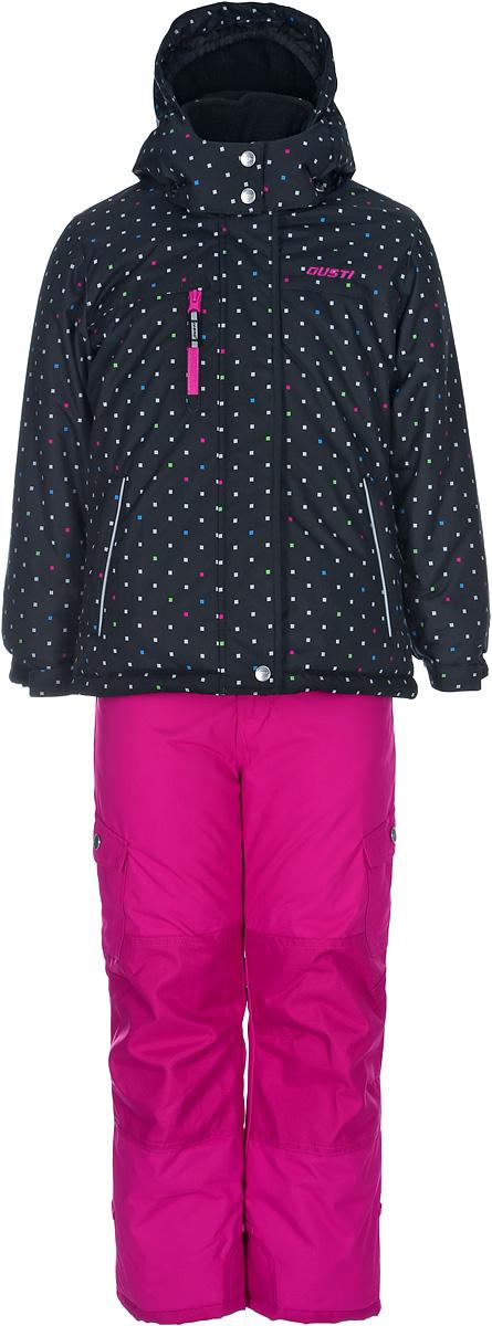 Комплект верхней одежды для девочки Gusti, цвет: черный, розовый. GWG 3300-BLACK. Размер 127GWG 3300-BLACKКомплект Gusti состоит из куртки и брюк. Ткань верха: мембрана с коэффициентом водонепроницаемости 5000 мм и коэффициентом паропроницаемости 5000 г/м2, одежда ветронепродуваемая. Благодаря тонкому полиуретановому напылению изнутри не промокает даже при сильной влаге, но при этом дышит (защита от влаги не препятствует циркуляции воздуха). Плотность ткани Т190 обеспечивает высокую износостойкость. Утеплитель: тек-Полифилл (Tech-Polyfil) - 280г/м2, силиконизированый полиэстер изготовленный по новейшим технологиям, удерживает тепло при температуре до -30 С. Очень мягкий, создающий объем для сохранения тепла. Высокоэффективный, обладающий повышенной устойчивостью к сжатию (после стирки в стиральной машине изделие достаточно встряхнуть), обеспечивающий хорошую вентиляцию, обладающий прекрасным, теплоизолирующими свойствами синтетический материал. Главные преимущества Тек-Полифила – одежда более пушистая на ощупь и менее тяжелое по весу. Подкладка: высокотехнологичный флис COOLQUICK. Специальное кручение нитей позволяет ткани максимально впитывать влагу и увеличивать испаряемость с поверхности, т.е. выпустить пар, но не пропускает влагу снаружи, что обеспечивает комфорт даже при высоких физических нагрузках. Этот материал ранее был разработан специально для спортсменов, которые испытывали сильные нагрузки во время активного движения, а теперь принес комфорт и тепло в нашу повседневную жизнь. Это особенно важно для детей, когда они гуляют на свежем воздухе, чтобы тело всегда оставалось сухим и теплым. В этой одежде им будет тепло в течение длительного времени и нет необходимости надевать теплый свитер. Верхняя одежда GUSTI просто чистится. Стирать одежду придется очень редко – только при сильных загрязнениях. Если малыш забрался в лужу или грязь, просто вытрите пятно влажной тряпкой.
