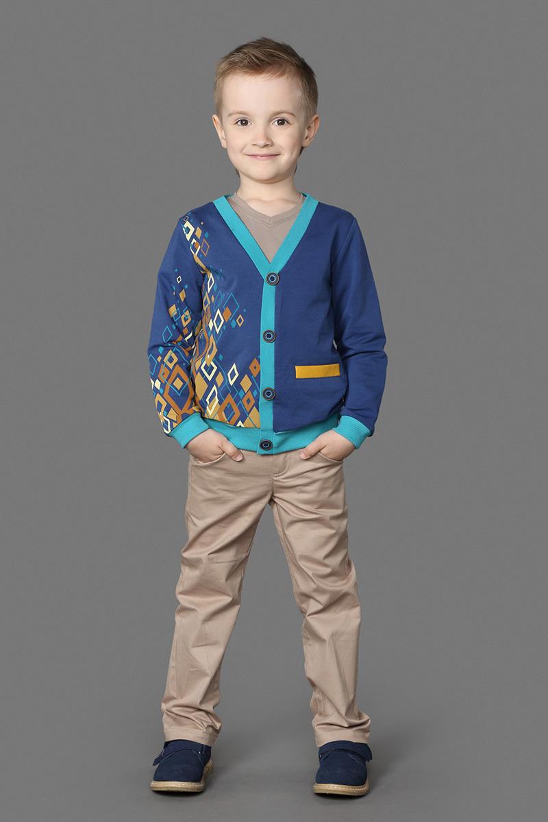 Кардиган для мальчика Ёмаё, цвет: синий. 63-132. Размер 11063-132Стильный кардиган, выполненный из хлопка c добавлением хлопка, отлично дополнит гардероб вашего мальчика. Модель с длинными рукавами и V-образным вырезом горловины дополнена небольшим прорезным кармашком. Спереди кардиган дополнен пуговицами.