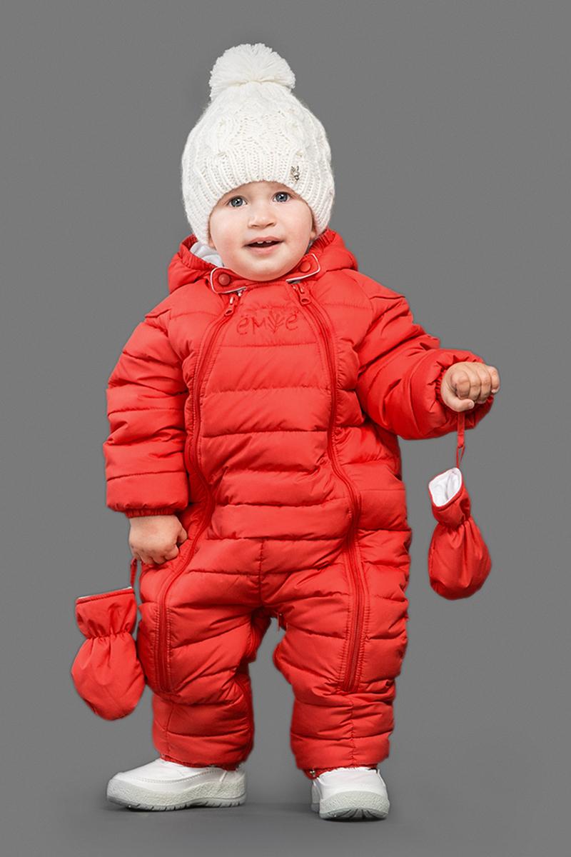 Комбинезон утепленный для девочки Ёмаё, цвет: красный. 22-102. Размер 8022-102Комбинезон-трансформер изготовлен из полиэстера и утеплен синтепоном. Подкладка выполнена из натурального хлопка. Модель с капюшоном застегивается на пластиковую молнию и дополнена съемными варежками и пинетками на кнопках. На рукавах имеются эластичные манжеты