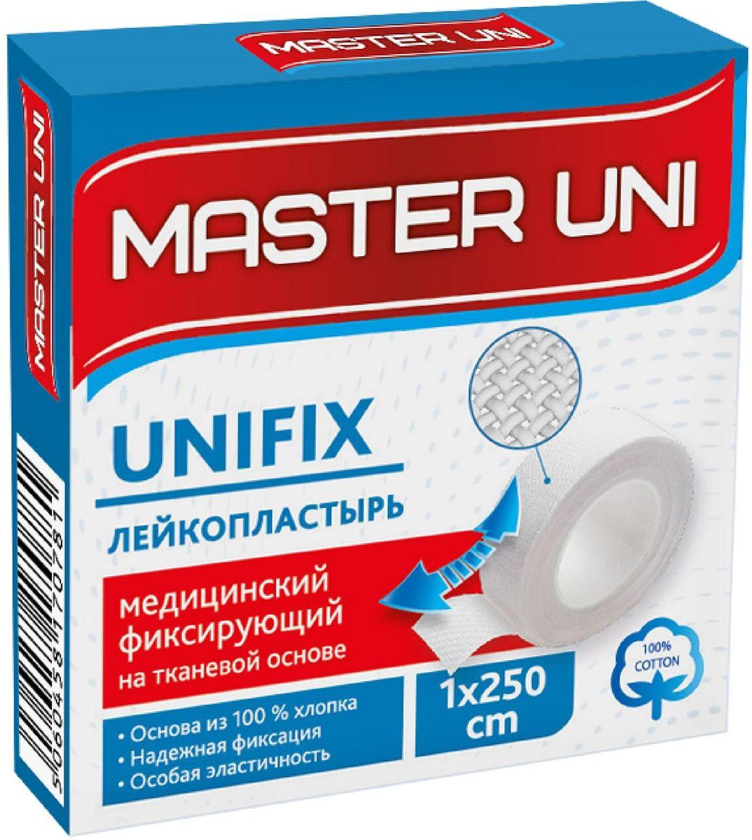 Master Uni Unifix Лейкопластырь фиксирующий, 1 х 250 см, тканевая основа17078Лейкопластырь медицинский фиксирующий на тканевой основе MASTER UNI UNIFIX предназначен для фиксации различного вида перевязочных средств, компрессов, тампонов и крепления на коже вспомогательных медецинских устройств. Обладает отличной эластичностью, принимая форму изгибов тела и не стесняя движения, стойкой фиксацией, плотно прилегая к телу. Натуральная основа из 100% хлопка подходит для любого типа кожи. Правила хранения: хранить в сухом месте при комнатной температуре. Размер 1 х 250 см.