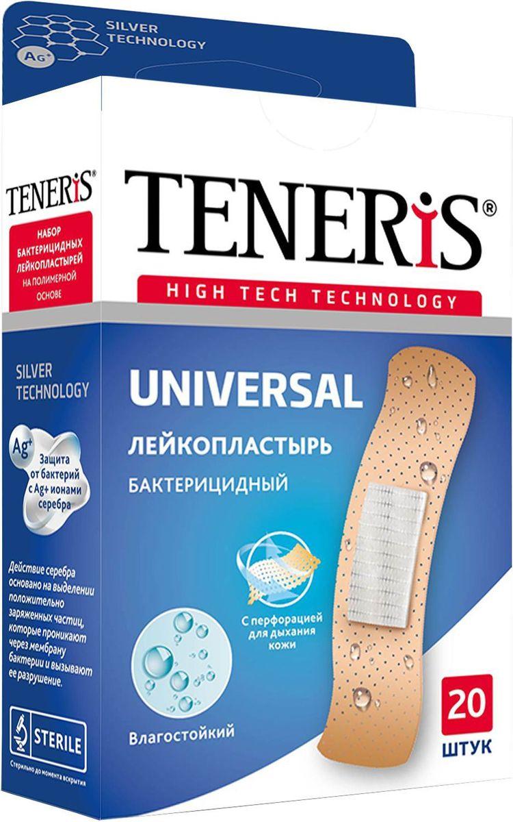 Teneris Universal Набор бактерицидных лейкопластырей, 20 шт17117TENERIS UNIVERSAL - набор бактерицидных лейкопластырей на полимерной перфорированной основе с ионами серебра. Действие серебра основано на выделении положительно заряженных частиц, которые проникают через мембрану бактерии и вызывают ее разрушение. Влагостойкий, эластичный. Пропускает воздух. Впитывающая подушечка с атравматической сеткой с ионами серебра не прилипает к ране. 20 шт. в упаковке, размер 76 х 19 мм. Применение: Вымойте руки; очистите и высушите ранку и кожу вокруг, не прикасаясь к сорбционной подушечке пальцами, приложите пластырь на поврежденную поверхность кожи; плотно прижмите края, не допуская складок. Меняйте ежедневно. Не использовать повторно. Стерильно до момента вскрытия. Правила хранения: хранить в сухом, защищенном от света и недоступном для детей месте при комнатной температуре.