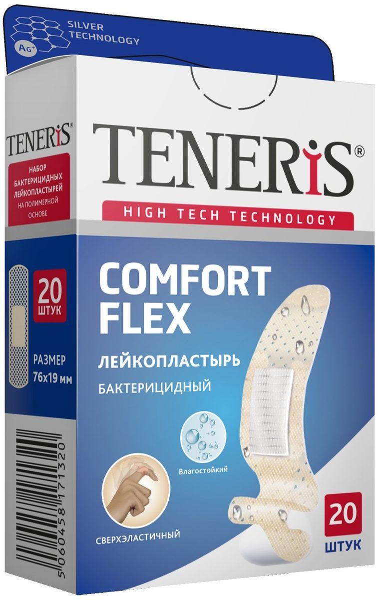 Teneris Comfort Flex Набор бактерицидных лейкопластырей, 20 шт17132TENERIS COMFORT FLEX - набор бактерицидных медицинских лейкопластырей на полимерной перфорированной основе с ионами серебра. Действие серебра основано на выделении положительно заряженных частиц, которые проникают через мембрану бактерии и вызывают ее разрушение. Влагостойкий, сверхэластичный. Пропускает воздух, не сковывает движения, принимает форму любого изгиба тела. Впитывающая подушечка с атравматической сеткой с ионами серебра не прилипает к ране. 20 шт. в упаковке, размер 76 х 19 мм. Применение: Вымойте руки; очистите и высушите ранку и кожу вокруг, не прикасаясь к сорбционной подушечке пальцами, приложите пластырь на поврежденную поверхность кожи; плотно прижмите края, не допуская складок. Меняйте ежедневно. Не использовать повторно. Стерильно до момента вскрытия. Правила хранения: хранить в сухом, защищенном от света и недоступном для детей месте при комнатной температуре.