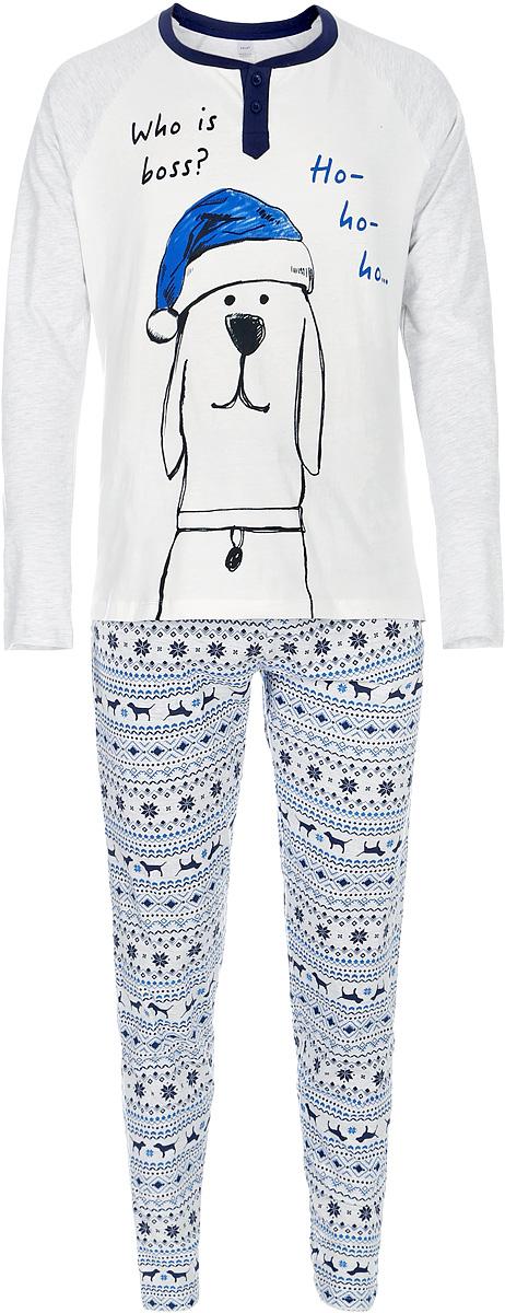 Пижама мужская Sela, цвет: молочный. PYb-262/029-7403. Размер XXL (54)PYb-262/029-7403