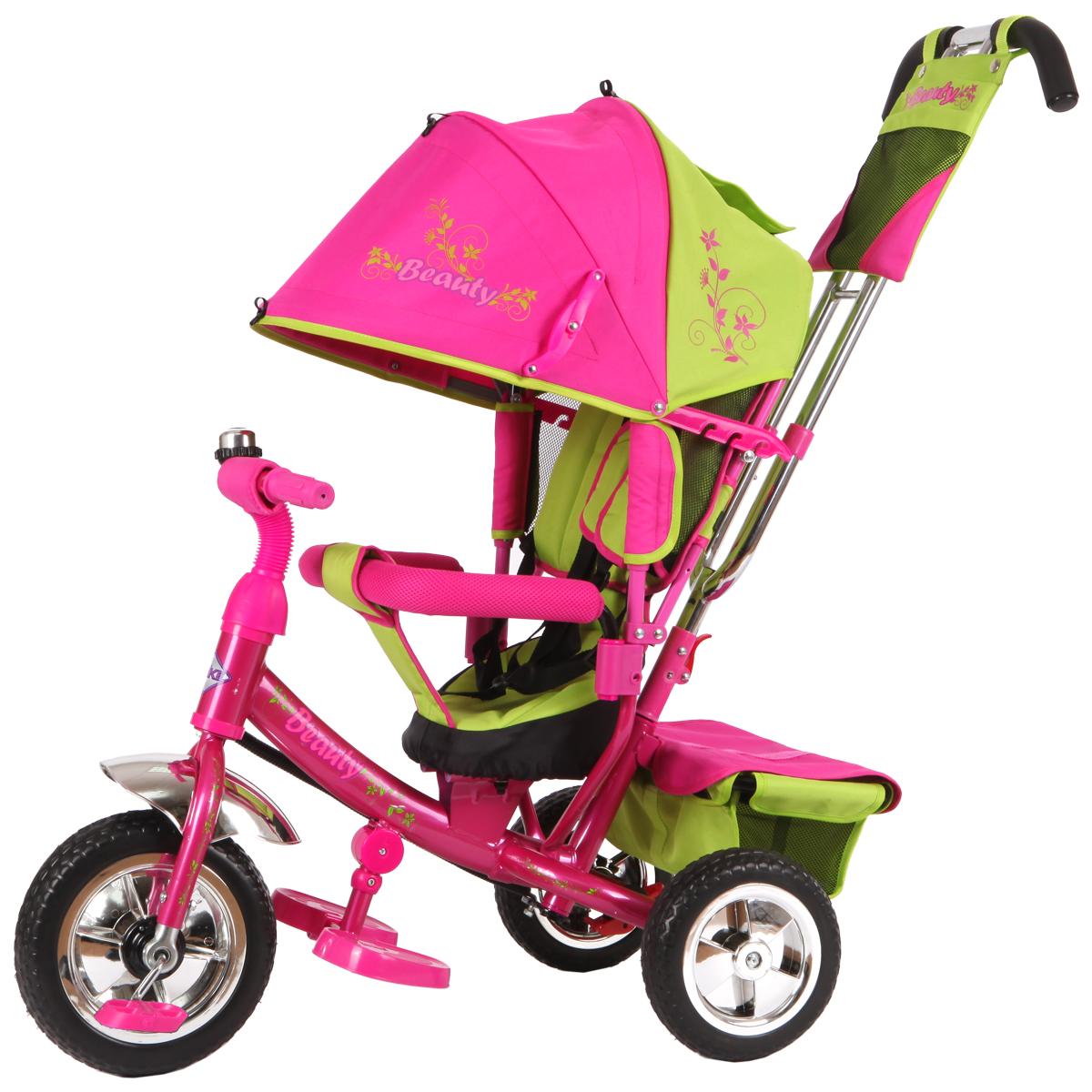 Beauty Велосипед трехколесный цвет зеленый розовый B2GPB2GPТрехколесный велосипед Beauty подойдет для малышей, которые только осваивают этот вид транспорта. Катание на велосипеде положительно влияет на физическую форму ребенка и улучшает координацию движений. Данная модель детского велосипеда имеет съемную крышу, которая регулируется по высоте. Руль также изменяется по высоте. В этой модели предусмотрена подставка для ножек ребенка. Ребенок может держаться как за руль так и за специальный бортик, обитый мягкой тканью, который поможет ему удержаться на месте. Свободный ход колеса поможет маме легко управляться с велосипедом на прогулке. В корзине велосипеда удобно носить с собой необходимые на прогулке детские вещи. В конструкции велосипеда предусмотрен тормоз.Колеса пластиковые 10 и 8 в диаметре.