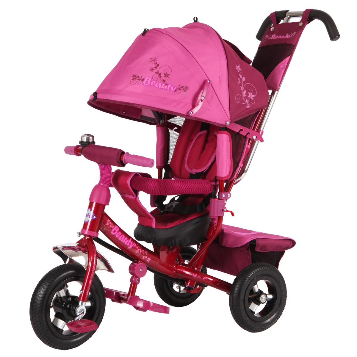 Beauty Велосипед трехколесный цвет красный розовый BA2RPBA2RPТрехколесный велосипед Beauty подойдет для малышей, которые только осваивают этот вид транспорта. Катание на велосипеде положительно влияет на физическую форму ребенка и улучшает координацию движений. Данная модель детского велосипеда имеет съемную крышу, которая регулируется по высоте. Руль также изменяется по высоте. В этой модели предусмотрена подставка для ножек ребенка. Ребенок может держаться как за руль так и за специальный бортик, обитый мягкой тканью, который поможет ему удержаться на месте. Свободный ход колеса поможет маме легко управляться с велосипедом на прогулке. В корзине велосипеда удобно носить с собой необходимые на прогулкедетские вещи. В конструкции велосипеда предусмотрен и тормоз.Колеса надувные 10 и 8 в диаметре.