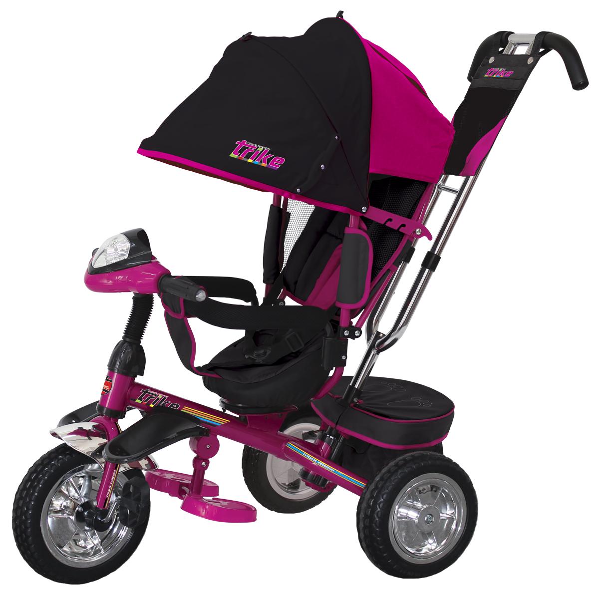 TRIKE Велосипед трехколесный цвет розовый T4PT4PТрехколесный велосипед TRIKE подойдет для малышей, которые только осваивают этот вид транспорта. Катание на велосипеде положительно влияет на физическую форму ребенка и улучшает координацию движений. Данная модель детского велосипеда имеет съемную крышу, которая регулируется по высоте. В этой модели предусмотрена подставка для ножек ребенка. Ребенок может держаться как за руль так и за специальный бортик, обитый мягкой тканью, который поможет ему удержаться на месте. Свободный ход колеса поможет маме легко управляться с велосипедом на прогулке. В корзине велосипеда удобно носить с собой необходимые на прогулке детские вещи.Конструкция велосипеда предусматривает тормоз, родительскую ручку и поворачивающее сиденье. Велосипед имеет удобную наклонную спинку, что позволяет вашему ребенку комфортно чувствовать себя на протяжении долгих прогулок. Колеса пластиковые 10 и 8 в диаметре.Для дополнительного эффекта велосипед оснащен фарой со звуковым и световым эффектами.
