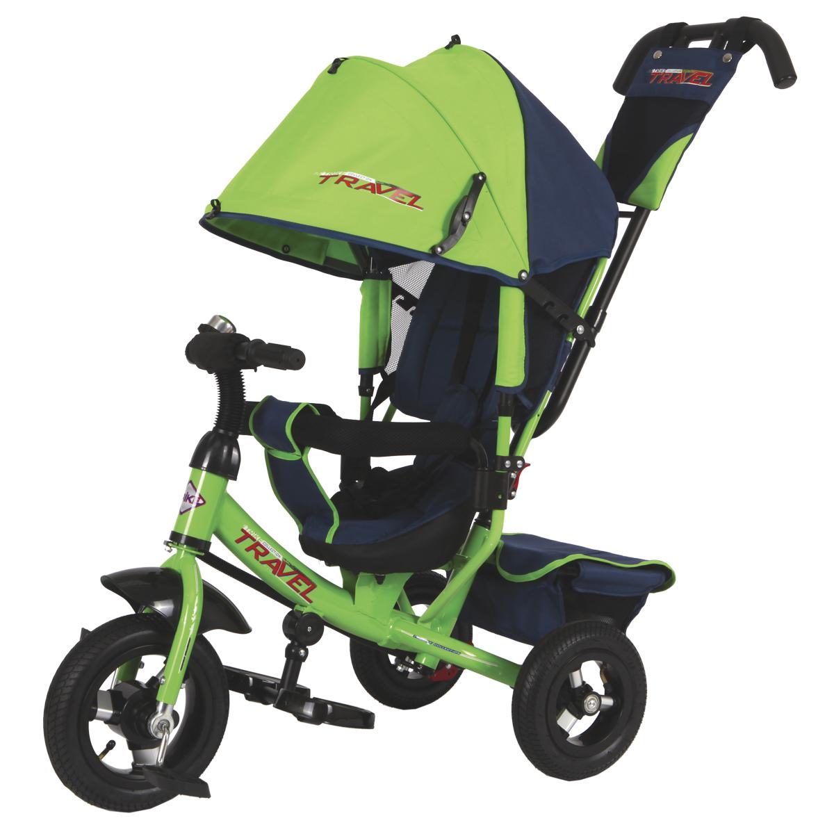 """Трехколесный велосипед """"Travel"""" подойдет для малышей, которые только осваивают этот вид транспорта. Катание на велосипеде положительно влияет на физическую форму ребенка и улучшает координацию движений. Данная модель детского велосипеда имеет съемную крышу, которая регулируется по высоте. Руль также изменяется по высоте. В этой модели предусмотрена подставка для ножек ребенка. Ребенок может держаться как за руль так и за специальный бортик, обитый мягкой тканью, который поможет ему удержаться на месте.Свободный ход колеса поможет маме легко управляться с велосипедом на прогулке. В корзине велосипеда удобно носить с собой необходимые на прогулке детские вещи. В конструкции велосипеда предусмотрен тормоз и наклон спинки сиденья.Надувные шины 10"""" и 8"""" в диаметре."""