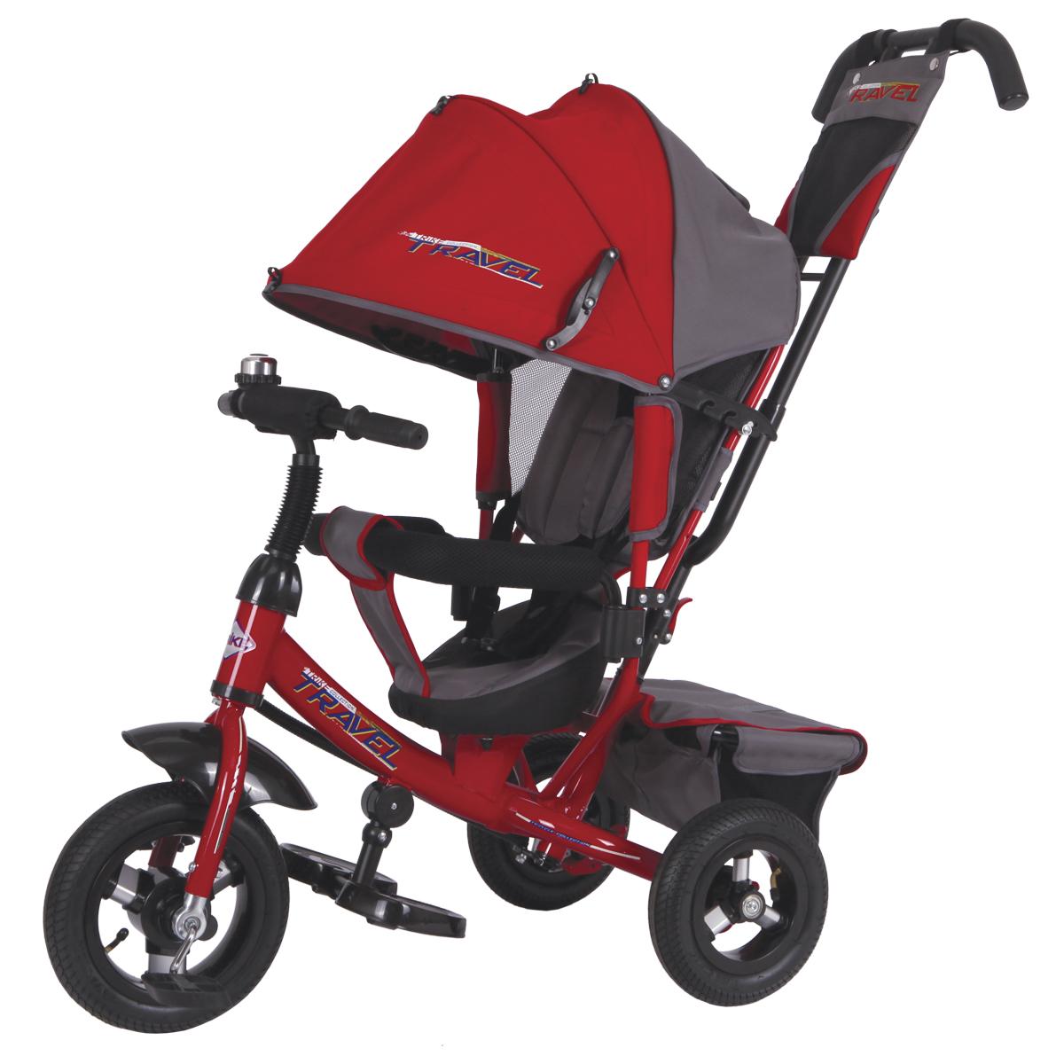 Travel Велосипед трехколесный цвет красный TTA2RTTA2RТрехколесный велосипед Travel подойдет для малышей, которые только осваивают этот вид транспорта. Катание на велосипеде положительно влияет на физическую форму ребенка и улучшает координацию движений. Данная модель детского велосипеда имеет съемную крышу, которая регулируется по высоте. Руль также изменяется по высоте. В этой модели предусмотрена подставка для ножек ребенка. Ребенок может держаться как за руль так и за специальный бортик, обитый мягкой тканью, который поможет ему удержаться на месте.Свободный ход колеса поможет маме легко управляться с велосипедом на прогулке. В сумке велосипеда удобно носить с собой необходимые на прогулке детские вещи. В конструкции велосипеда предусмотрен тормоз и наклон спинки сиденья.Надувные шины 10 и 8 в диаметре.