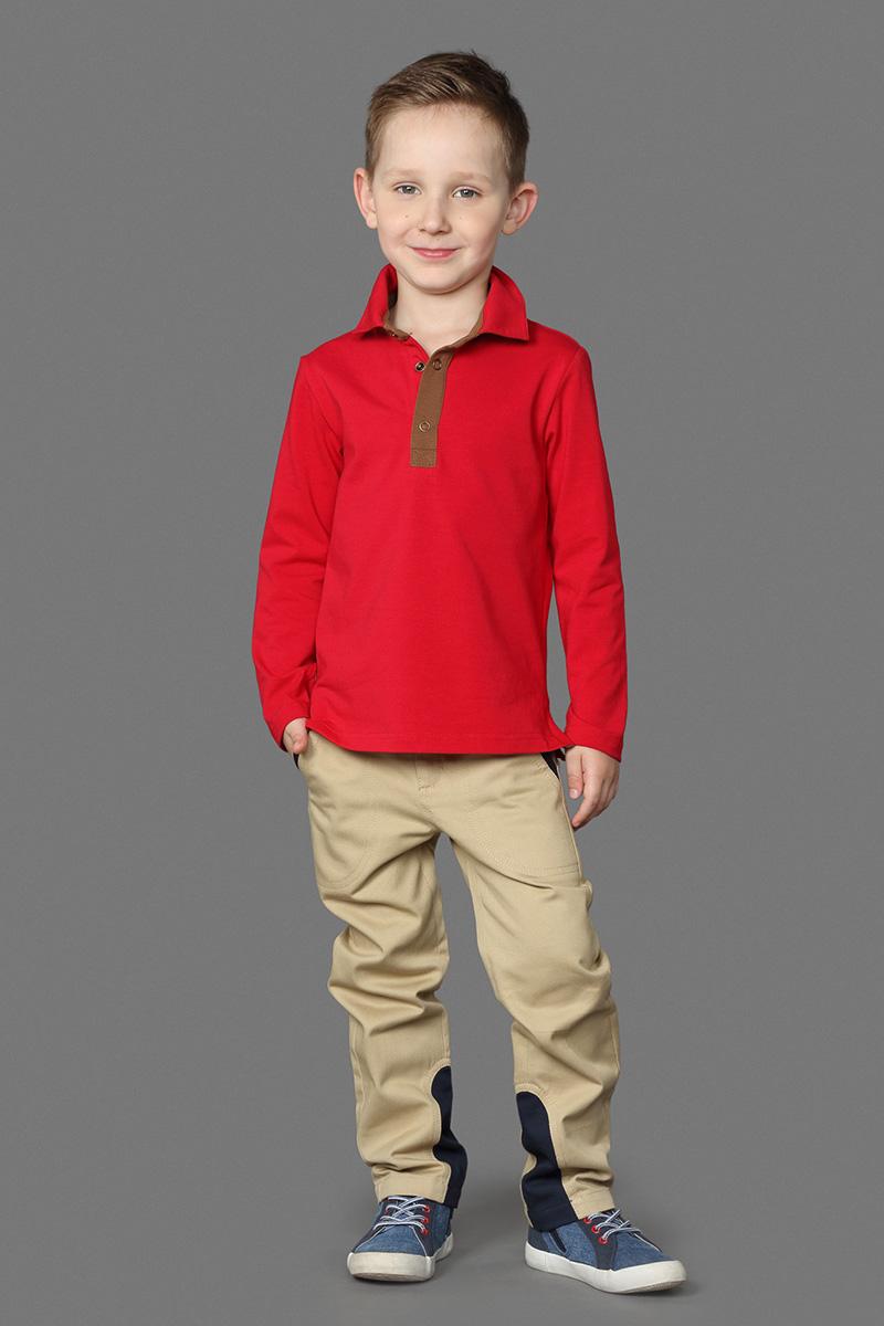 Поло для мальчика Ёмаё, цвет: красный. 40-601. Размер 9240-601Кофта-поло, выполненная из эластичного хлопка, идеально подойдет вашему маленькому мужчине.Модель свободного кроя с длинными рукавами дополнена отложным воротником и застежкой на кнопки.В ней ваш маленький мужчина всегда будет в центре внимания!