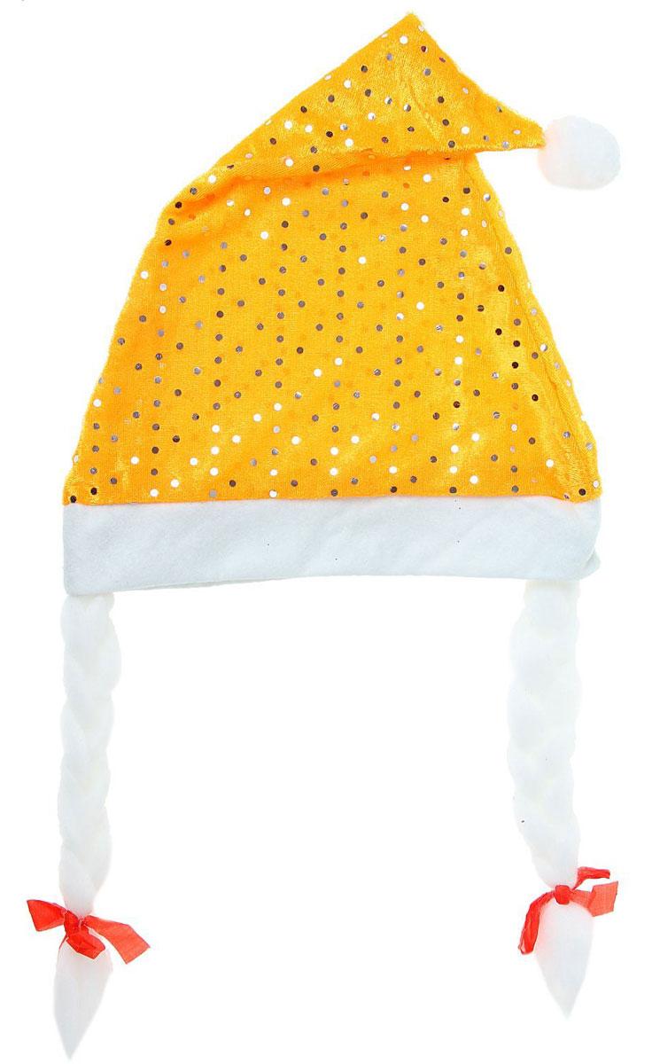 Колпак новогодний Блестка, с косами, цвет: желтый, 25 х 37 см1111383Поддайтесь новогоднему веселью на полную катушку! Забавный колпак в секунду создаст праздничное настроение, будь то поздравление ребятишек или вечеринка с друзьями. Размер изделия универсальный: аксессуар подойдет как для ребенка, так и для взрослого. А мягкий текстиль позволит носить колпак с комфортом на протяжении всей новогодней ночи.