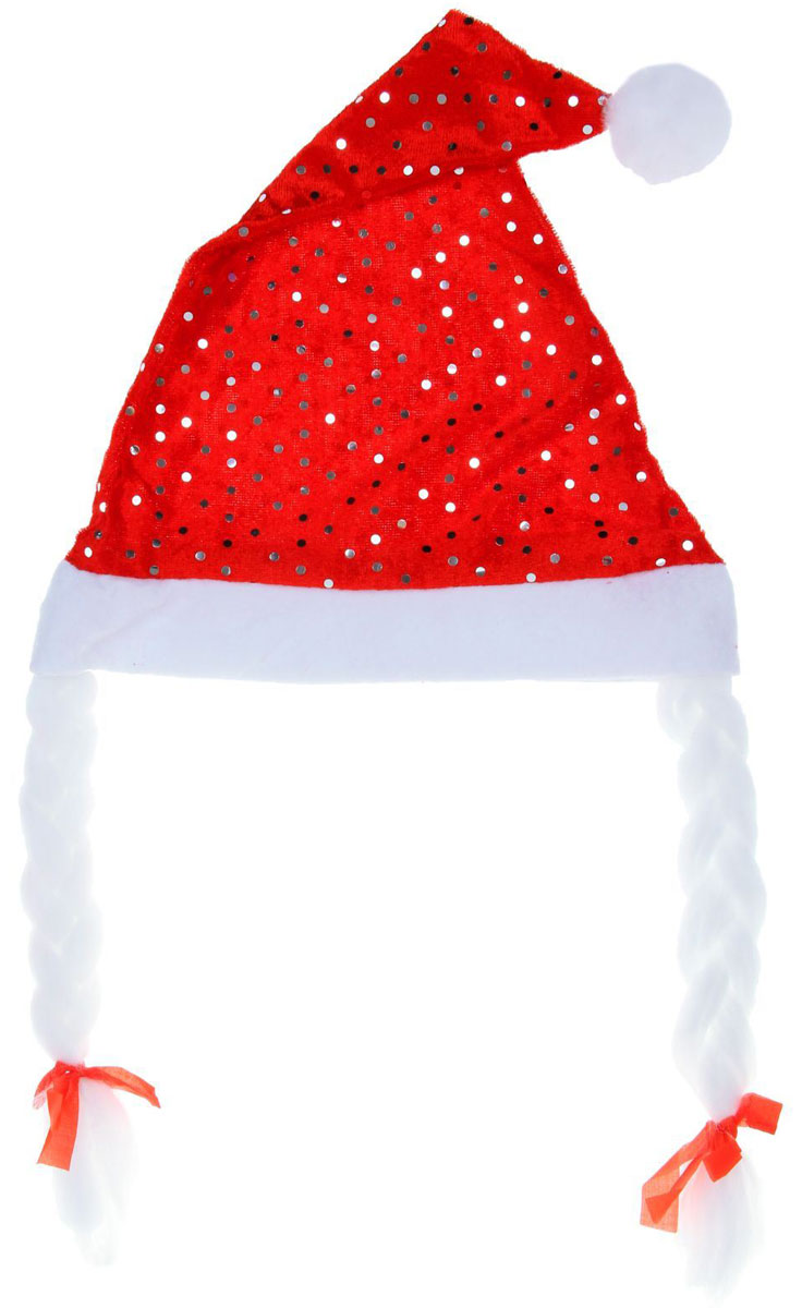 Колпак новогодний Блестка, с косами, цвет: красный, 25 х 37 см1111382Поддайтесь новогоднему веселью на полную катушку! Забавный колпак в секунду создаст праздничное настроение, будь то поздравление ребятишек или вечеринка с друзьями. Размер изделия универсальный: аксессуар подойдет как для ребенка, так и для взрослого. А мягкий текстиль позволит носить колпак с комфортом на протяжении всей новогодней ночи.