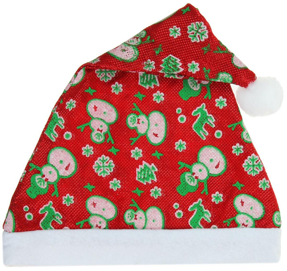 Колпак новогодний Веселые снеговики, 39 х 27 см806282Поддайтесь новогоднему веселью на полную катушку! Забавный колпак в секунду создаст праздничное настроение, будь то поздравление ребятишек или вечеринка с друзьями. Размер изделия универсальный: аксессуар подойдет как для ребенка, так и для взрослого. А мягкий текстиль позволит носить колпак с комфортом на протяжении всей новогодней ночи.