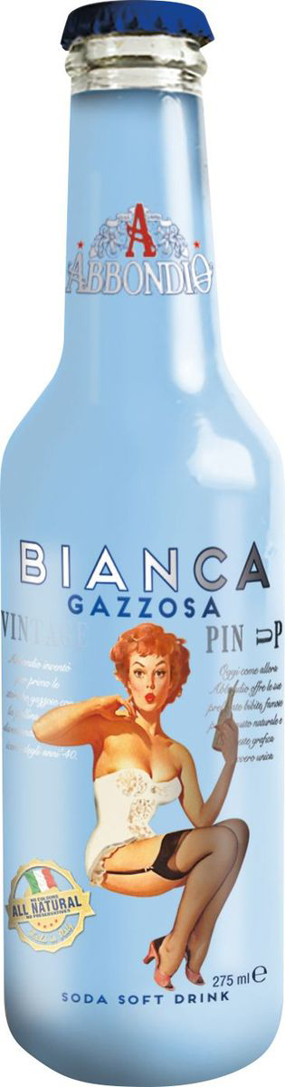 Abbondio PinUp Bianca Gazzosa, лимонад безалкогольный слабогазированный, 0,275 л6618Лучший продукт Abbondio, получивший награду. Производят из 5 различных по качеству итальянских лимонов. Стойкое послевкусие, хорошо освежает.