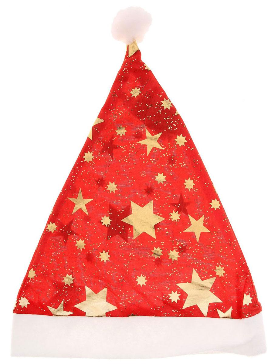 Колпак новогодний Звезды, 40 х 27 см719599Поддайтесь новогоднему веселью на полную катушку! Забавный колпак в секунду создаст праздничное настроение, будь то поздравление ребятишек или вечеринка с друзьями. Размер изделия универсальный: аксессуар подойдет как для ребенка, так и для взрослого. А мягкий текстиль позволит носить колпак с комфортом на протяжении всей новогодней ночи.