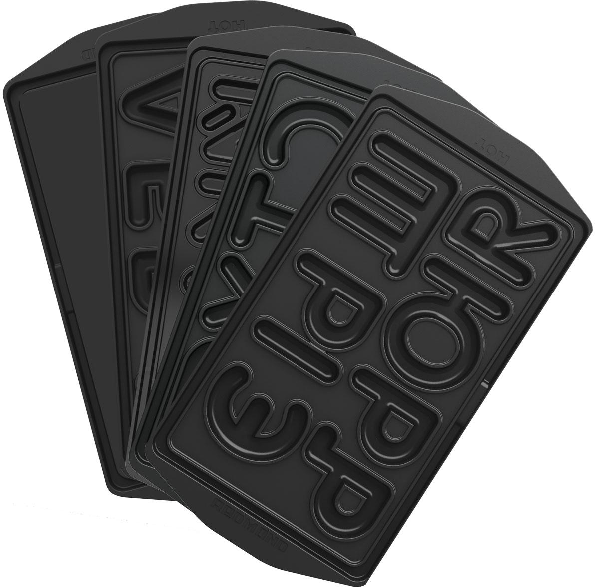 Redmond RAMB-25, Black пресс-форма для ростераRAMB-25• Универсальные съемные панели для любого Мультипекаря Redmond серии 6!• В комплекте 5 пластин, с которыми вы можете приготовить печенье в форме букв русского алфавита. Такая фигурная выпечка отлично подойдет для того, чтобы помочь ребенку выучить алфавит, научить его читать и раскладывать слова на слоги. Из съедобных букв можно также составлять оригинальные поздравления для своих родных, друзей и коллег.• Готовьте на этих панелях из проверенных продуктов, в качестве которых вы убедились. У вас будет получаться вкусная домашняя выпечка – без консервантов и красителей!• Панели изготовлены из металла, поэтому они долговечны и легки в уходе. Антипригарное покрытие позволяет готовить без использования масла.• Панели удобно устанавливать и снимать благодаря специальным ручкам сбоку от форм.