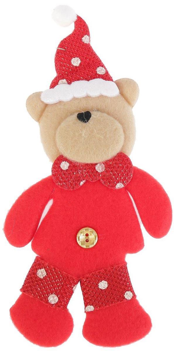 Новогоднее подвесное украшение Мишка в колпаке, 7 х 15 см2388974Новогоднее подвесное украшение Мишка в колпакевыполнено из текстиля. Спомощьюспециальной петельки украшение можно повесить влюбом понравившемся вамместе. Но, конечно, удачнее всего оно будетсмотреться на праздничной елке.Елочная игрушка - символ Нового года. Она несет всебе волшебство и красотупраздника. Создайте в своем доме атмосферувеселья и радости, украшаяновогоднюю елку нарядными игрушками, которыебудут из года в год накапливатьтеплоту воспоминаний.