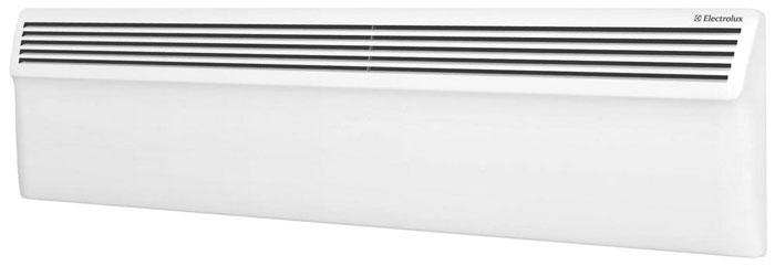 Electrolux ECH/AG-1000 PE электропанельECH/AG-1000 PEЭлектрический конвектор Air Plinth ECH/AG-1000 PE имеет форм-фактор «плинтус» и за счет скромных габаритных размеров (его высота всего 22 см) способен идеально вписаться в помещения с низкими потолками или большой площадью остекления. Внутренняя конструкция прибора и его дизайн – воплощение лучших качеств популярной серии Air Gate.В модели установлен монолитный нагревательный элемент нового поколения V-DUOS, выполненный из специального сплава алюминия с применением нано-технологий.Ребристая V-образная конструкция сводит к минимуму теплопотери и обеспечивает моментальный обогрев.Air Plinth имеет электронное управление. Интеллектуальный LED-дисплей отображает не только заданную и фактическую температуру в помещении, но и все режимы работы конвектора: полная и половинная мощность, нагрев, таймер и др.Конвектор безопасен в эксплуатации, соответствует международным стандартам и относится к классу IP24, гарантирующему защиту от попадания внутрь мелких предметов и брызг воды. Это означает, что его можно смело размещать в ванной комнате или других помещениях с повышенным уровнем влажности. Кроме того, прибор оснащен датчиком от перегрева, а также функцией «родительский контроль».В комплект входит кронштейн для настенного монтажа.Гарантия на модель составляет 3 года.