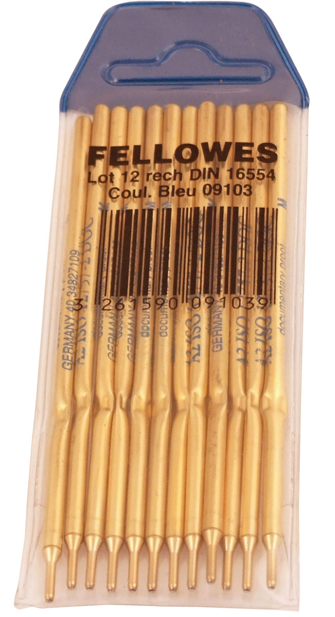 Fellowes Набор стержней для ручки цвет чернил синий 12 штFS-09103Набор стержней Fellowes подходит для шариковой ручки Fellowes на подставке.Такие стержни обеспечат мягкое письмо и яркость чернил.