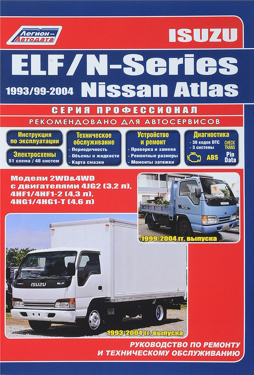 Isuzu ELF / N-Series 1993-2004 гг. выпуска. Nissan Atlas 1999-2004 гг. выпуска. Руководство по ремонту и техническому обслуживанию двигатель 4jb1t isuzu elf