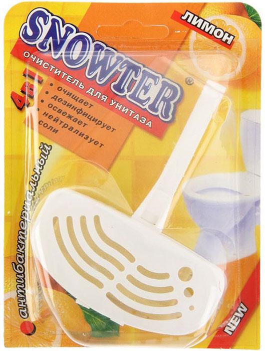 Очиститель для унитаза Snowter, лимон, 40 г601-1040Специально подобранные компоненты блока Snowter Лимон обеспечивают устранение загрязнений унитаза, предупреждая отложение осадков в труднодоступных местах, обладают дезинфицирующим действием, создают пену и приятный запах при смывании.
